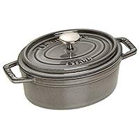 Staub 琺寶 琺瑯鑄鐵鍋 橢圓形鑄鐵迷你鍋 17cm 石墨灰