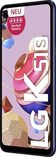 LG K51s 智能手机 64 GB (16.63厘米(6.55英寸)高清显示屏,高级4倍摄像头,MIL-STD-810G,DTS:X 3D 环绕声)LMK510EMW.ADEABL  蓝色