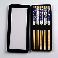 Syunko 竹筷子可重复使用筷子套装,可用洗碗机清洗,儿童和成人中国经典筷子礼品套装(5 双装)