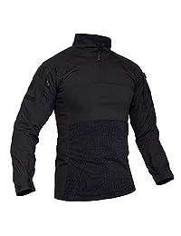 TACVASEN 男式战术衬衫 1/4 拉链突击*上衣长袖户外徒步衬衫