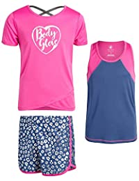 Body Glove 女孩 3 件套运动短裤套装带 T 恤和背心