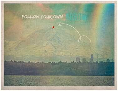Kess InHouse Robin Dickinson Follow Your Own Arrow 城市风景 KESS 自然帆布艺术,27.94 x 35.56 厘米