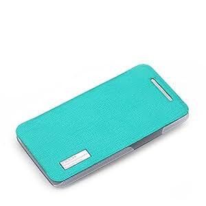 ROCK 洛克 HTC ONE 802W手机保护套 htc 802t 手机壳 htc802d手机皮套 天蓝色(雅系列皮套)