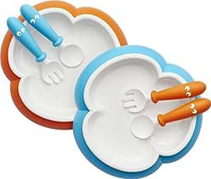 Baby Bjorn 宝宝用盘子,勺子和叉子 - 橙色/绿松石色,2件套