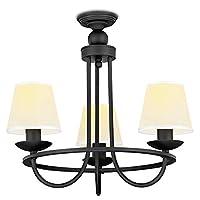 NVC 雷士照明 3头吊灯 简约美式卧室灯 需自购E27光源*3(亚马逊自营商品, 由供应商配送,如有疑问可咨询客服:0752-7808661,或咨询客服QQ:1489847978)