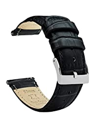 BARTON WATCH BANDS Alligator Grain Cowhide Leather 黑色 GATORBLACK21 表带
