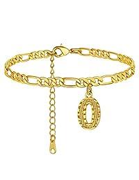 GoldChic 珠宝脚链带首字母,个性化防水 4.5MM 宽可调整 18K 镀金费加罗链首字母脚踝手链适合女士女孩夏季珠宝,22-27 厘米长 O
