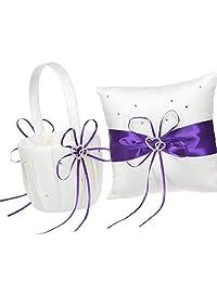 2 颗心形水钻象牙白/蓝,红色,紫色,黑色镶边缎面大号结婚戒指,熊枕头和篮子套装 White with Purple Trimming IMC