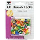 Charles Leonard Thumb Tacks, Assorted Colors, Vinyl Coated, 60-Pack (80991)