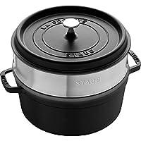 Staub 珐宝 40510-606-0 珐琅铸铁锅 圆形带蒸笼 26cm, 5.2 L, 内部亚光黑色珐琅,黑色