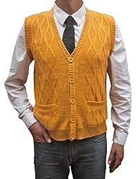 TINKUY PERU - 秘鲁羊驼羊毛 - 男士背心基本款 V 领纽扣开衫毛衣 - 黄色芥末黄