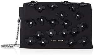 Coccinelle 女式 伊莉斯之花单肩斜挎包 E1 AA8 12 01 01-001 黑色/黑色/黑色 均码(亚马逊进口直采,意大利品牌)