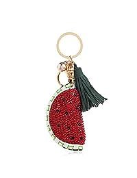 Royal.SaSa小西瓜钥匙挂件PU皮钥匙扣韩国版包包汽车钥匙圈挂坠首饰品-西瓜WA