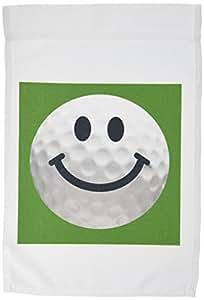 inspirationz Store 微笑脸系列–笑脸高尔夫球–幸福白色 golfball–golfer 礼品–smilie ON 深绿色背景–旗子 12 x 18 inch Garden Flag