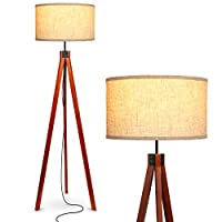 Brightech Eden 三脚架 LED 落地灯 – 中世纪可调光现代照明 适用于现代客厅 – 高个自立灯带实木支腿 适用于卧室、办公室 – 哈瓦那棕色