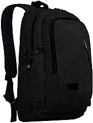 旅行背包,轻便防水背包带 USB 充电端口,适合 15.6/17 英寸