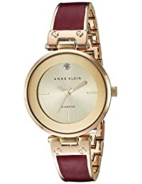 Anne Klein 安妮克萊因 女士AK / 2512BYGB鑲鉆手表 帶有大理石花紋的手鐲 Burgundy/Gold