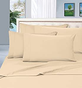 Elegant Comfort 1500 Thread Count Egyptian Quality 6 Piece Wrinkle Resistant Luxurious Sheet Set, King, Cream