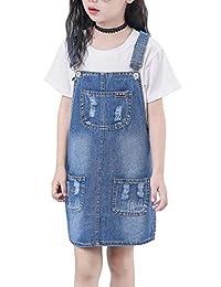 Sitmptol 女孩可调节肩带破洞大背带牛仔裤工作服连衣裙牛仔套头裙