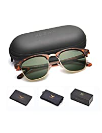 LUENX 男式 Clubmaster 偏光太阳镜 UV400 保护 51 毫米 带镜盒