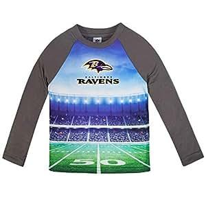Gerber 童装 NFL 巴尔的摩乌鸦男童 2018 长袖田地 T 恤,灰色,2T