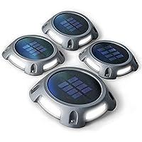 Home Zone *太阳能甲板灯 – 室外防风雨 LED 甲板灯带桩,无需接线,4 件装