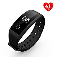Fitness Tracker/Smart Band, Dawo Smart Watch Waterproof Pedometer Activity Tracker with Sleep Monitor, Heart Rate Monitor, Blood Pressure/Oxygen Monitor Bluetooth 4.0 for IOS & Android(Black) D2-black2 44*24*12MM / 1.73*0.94*0.47IN