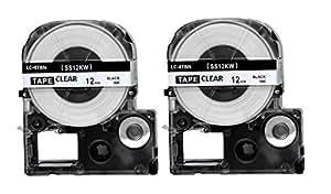 2PK Onirii EPSON 12mm 毫米 2PK-LC-4TBN 透明黑色