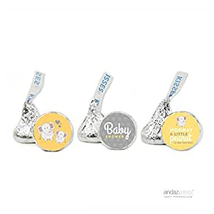 Andaz Press 小花生大象中性婴儿淋浴套装 Kiss Labels Party AP58159
