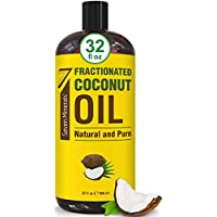 全新纯分数椰子油 - 大号 32 液体盎司瓶 - 非转*,* 天然,轻量按摩油用于皮肤、*等按摩* - 精油的完美载油
