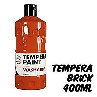 Markin Arts 充满活力的彩色*无酸零*水基可洗手指玩具绘画彩蛋彩画幼儿园基本课学生儿童*大号400毫升瓶 砖红色 Brick TPR-L-001-BRC