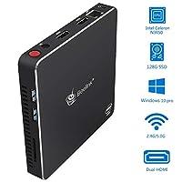 迷你电脑,Beelink T34 四核英特尔赛扬 N3450 处理器,Windows 10 Pro 迷你台式电脑,8GB LPDDR4/128GB 固态硬盘,2.4G/5G 双 WiFi,4K 高清,双 HDMI,BT4.0,千兆以太网,自动通电