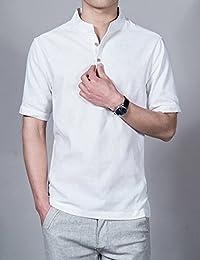 Aboselon 艾伯森朗 夏天舒适透气男士短袖休闲衬衫 棉麻男装衬衣 AXJM201