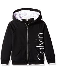 Calvin Klein 女童标志前拉链连帽衫