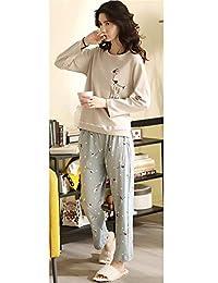2018女士纯棉秋季新款睡衣印花长袖长裤套装宽松舒适家居服
