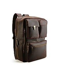 Tiding 男士真皮可转换背包邮差包,15.6 英寸笔记本电脑公文包手提包旅行背包斜挎包手提包