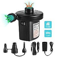 电动空气泵快速充气气气泵,适用于充气沙发、气床、游泳圈、充气泳池、2合1便携式空气床垫泵,强大的电动充气器气泵,带3个喷嘴 110-240V AC/DC