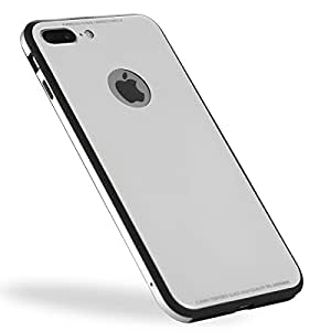 TOYOSO iPhone 8/8 Plus Phone Case Light Thin Protective Shock Absorption Cover; Wireless Charge Compatible; Glass Film Attached; the Same Glass Material as iPhone 8/8 Plus Silver(iPhone 8)