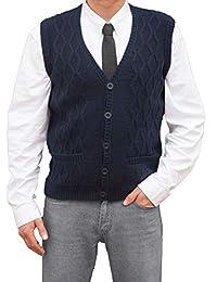 TINKUY PERU - 秘鲁羊驼毛 - 男式 йs 针织 V 领提花背心毛衣马甲 - 海蓝色
