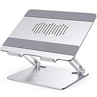 AWAVO 笔记本电脑支架,符合人体工程学的铝制电脑支架,适用于办公桌,可调节笔记本电脑立管,带散热通风口,多角度支架兼容 MacBook Air/Pro、戴尔、惠普、联想等 10-15.6 英寸笔记本电脑