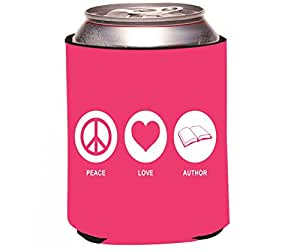 """Rikki Knight RKws-KOOZIE-42269 """"Peace Love Author Tropical Pink Color Design"""" Beer Can/Soda Drink Cooler Koozie"""