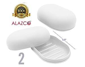ALAZCO 旅行香皂盒大号椭圆形容器盒白色适合家庭学校健身房 白色 2 (Travel Soap Dish) AZ2TSD