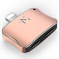诺希(NOHON) 苹果8转换器 iPhone 7 Plus Lightning+Lightning双接头 苹果X 充电通话耳机听歌通用 (Lightning+Lightning玫瑰金)