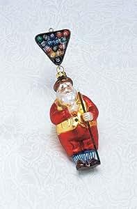 Bethlehem Lighting 台球主题玻璃圣诞老人适合泳池爱好者圣诞装饰