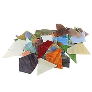 800 件混合彩色马赛克瓷砖拼贴玻璃套装带有整理容器,用于家居装饰或 DIY 工艺品、方块、三角形、祖母本、阿松夫松 Mosaic Tiles E