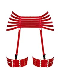 PETMHS 女式朋克腰束带吊袜带弹性肩带镂空大腿袜吊带哥特斯内衣 红色 One Size
