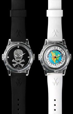 ホワイトウォッチ付き時計底骷髅ダブルダイヤルラバーニュートラルウォッチTW10NA