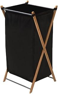 Household Essentials 6540-1 可折叠竹制 X 框架洗衣篮 | 竹制框架带黑色帆布包