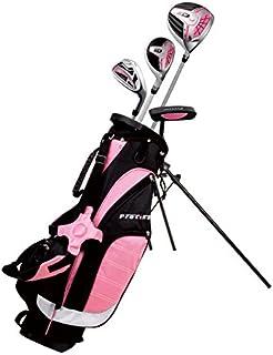 精准非凡女孩右手粉色初级高尔夫球杆套装适合 3 至 5 岁(高度 3 至 3 英尺 8 英寸)套装包括:驾驶员(15 英寸)、混合木(25 号,7 铁杆、推杆、赠品支架包和 2 个头套