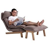 KUKA 顾家家居实木躺椅凳组合高靠背可调节拆洗办公室午休沙发单椅XJ米灰含脚凳(亚马逊自营商品, 由供应商配送)